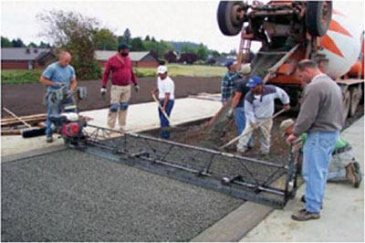 placing pervious concrete